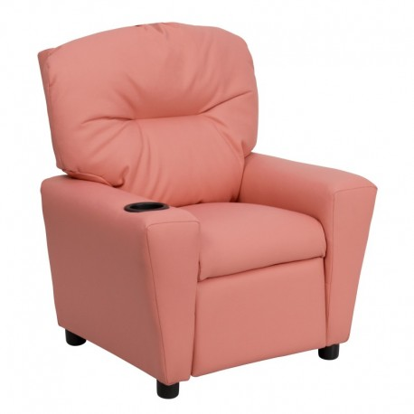 MFO Contemporary Pink Vinyl Kids Recliner with Cup Holder