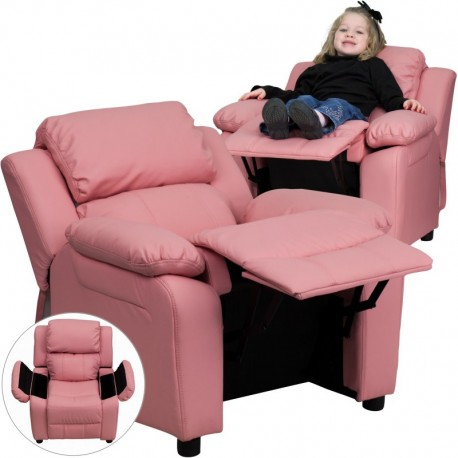 MFO Deluxe Padded Contemporary Pink Vinyl Kids Recliner with Storage Arms
