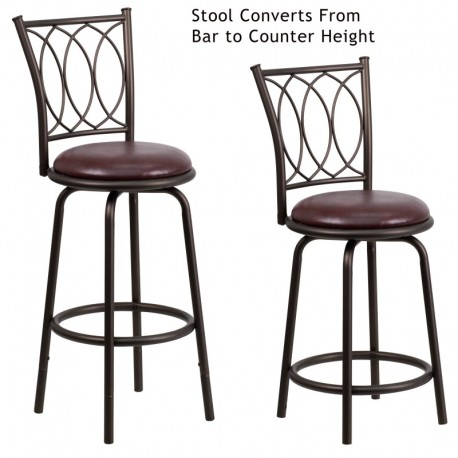 MFO 29'' Brown Metal DUAL Height Counter or Bar Stool with Brown Leather Swivel Seat