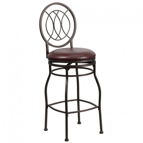 MFO 29'' Brown Metal Bar Stool with Brown Leather Swivel Seat
