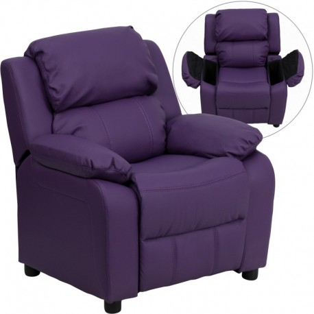 MFO Deluxe Padded Contemporary Purple Vinyl Kids Recliner with Storage Arms