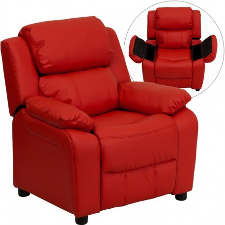 MFO Deluxe Padded Contemporary Red Vinyl Kids Recliner with Storage Arms
