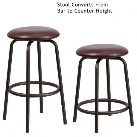 MFO Backless Brown Metal DUAL Height Counter or Bar Stool with Brown Leather Seat