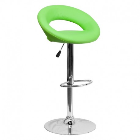 MFO Contemporary Green Vinyl Rounded Back Adjustable Height Bar Stool with Chrome Base