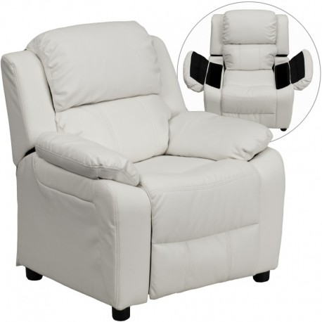 MFO Deluxe Padded Contemporary White Vinyl Kids Recliner with Storage Arms