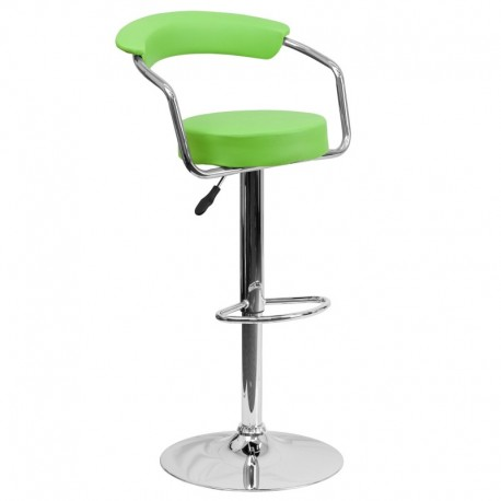 MFO Contemporary Green Vinyl Adjustable Height Bar Stool with Arms and Chrome Base
