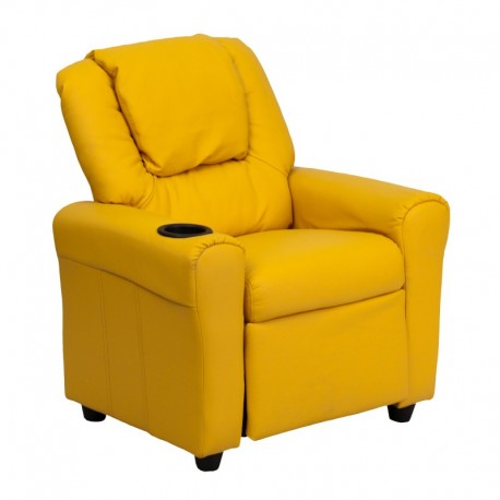 MFO Contemporary Yellow Vinyl Kids Recliner with Cup Holder and Headrest