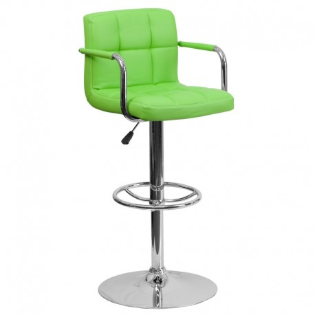 MFO Contemporary Green Quilted Vinyl Adjustable Height Bar Stool with Arms and Chrome Base