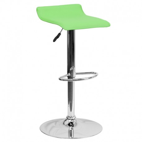 MFO Contemporary Green Vinyl Adjustable Height Bar Stool with Chrome Base