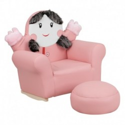 MFO Kids Pink Little Girl Rocker Chair and Footrest
