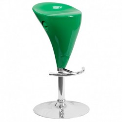 MFO Contemporary Green Plastic Adjustable Height Bar Stool with Chrome Base