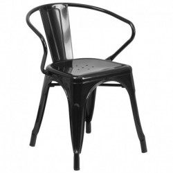 MFO Black Metal Chair with Arms