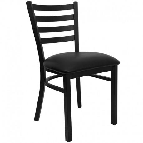 MFO Black Ladder Back Metal Restaurant Chair - Black Vinyl Seat