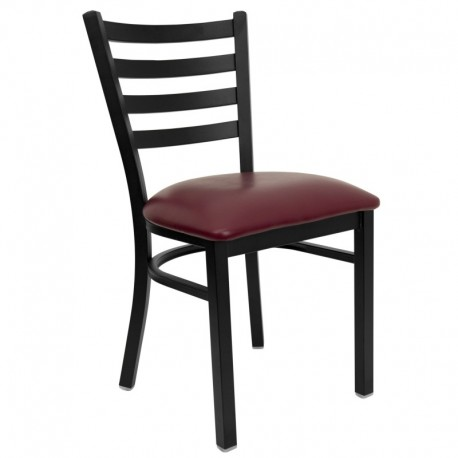 MFO Black Ladder Back Metal Restaurant Chair - Burgundy Vinyl Seat