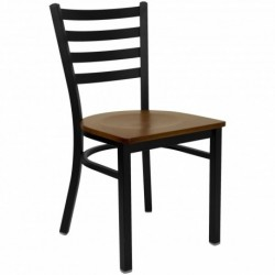 MFO Black Ladder Back Metal Restaurant Chair - Cherry Wood Seat
