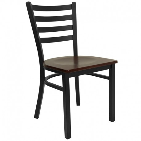 MFO Black Ladder Back Metal Restaurant Chair - Mahogany Wood Seat