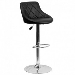 MFO Contemporary Black Vinyl Bucket Seat Adjustable Height Bar Stool with Chrome Base