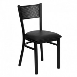 MFO Black Grid Back Metal Restaurant Chair - Black Vinyl Seat