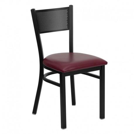 MFO Black Grid Back Metal Restaurant Chair - Burgundy Vinyl Seat