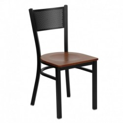 MFO Black Grid Back Metal Restaurant Chair - Cherry Wood Seat