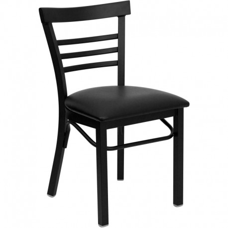 MFO Black Ladder Back Metal Restaurant Chair - Black Vinyl Seat
