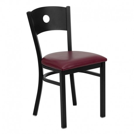 MFO Black Circle Back Metal Restaurant Chair - Burgundy Vinyl Seat
