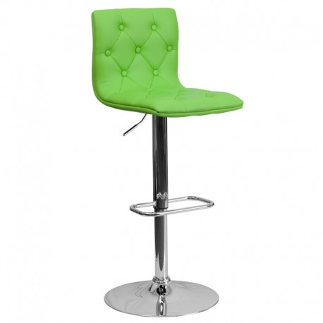MFO Contemporary Tufted Green Vinyl Adjustable Height Bar Stool with Chrome Base