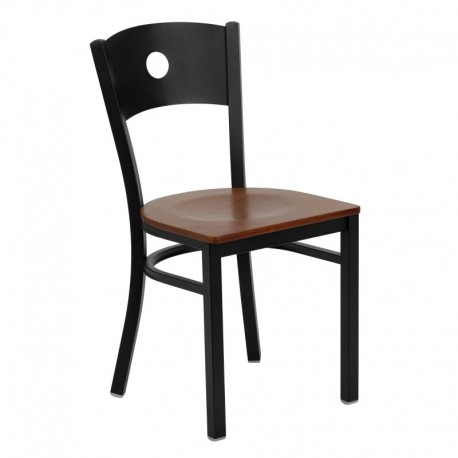 MFO Black Circle Back Metal Restaurant Chair - Cherry Wood Seat