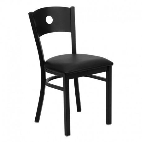 MFO Black Circle Back Metal Restaurant Chair - Black Vinyl Seat