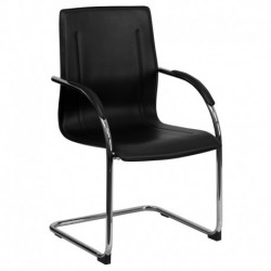 MFO Black Vinyl Side Chair with Chrome Sled Base