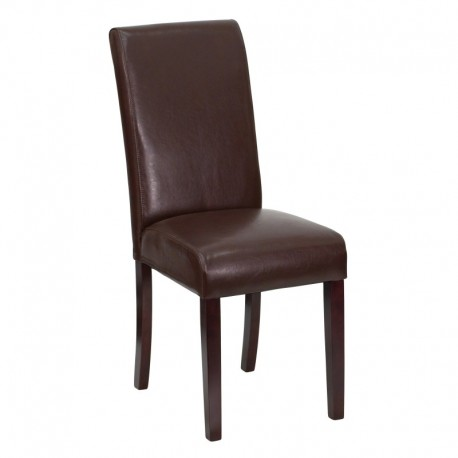 MFO Dark Brown Leather Upholstered Parsons Chair