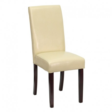 MFO Ivory Leather Upholstered Parsons Chair