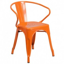 MFO Orange Metal Chair with Arms