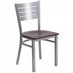 MFO Silver Slat Back Metal Restaurant Chair - Mahogany Wood Seat