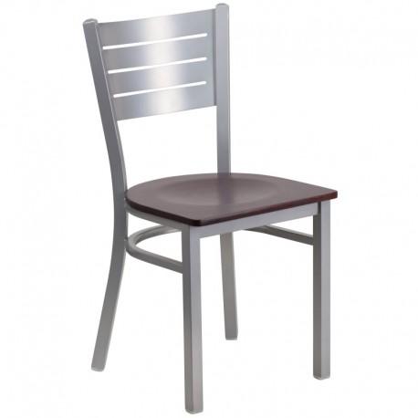 MFO Silver Slat Back Metal Restaurant Chair - Mahogany Wood Seat
