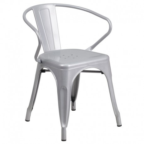 MFO Silver Metal Chair with Arms