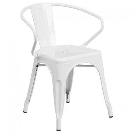 MFO White Metal Chair with Arms