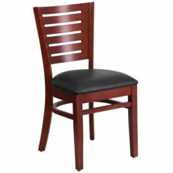 MFO Fervent Collection Slat Back Mahogany Wooden Restaurant Chair - Black Vinyl Seat