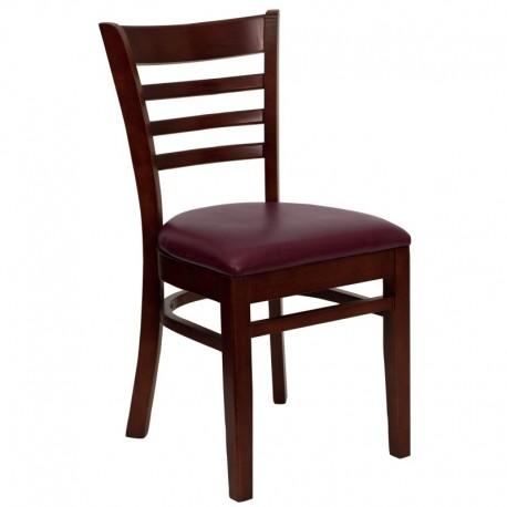 MFO Mahogany Finished Ladder Back Wooden Restaurant Chair - Burgundy Vinyl Seat