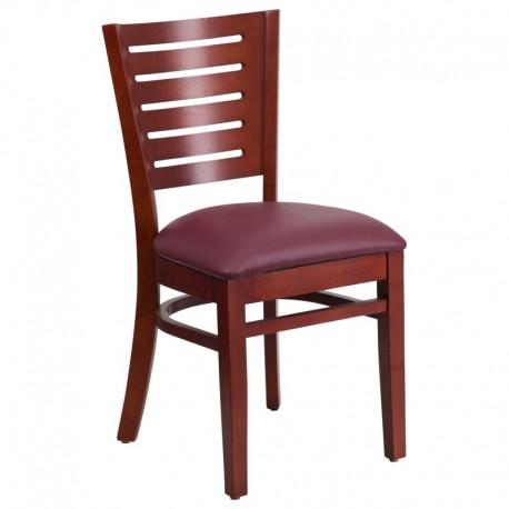 MFO Fervent Collection Slat Back Mahogany Wooden Restaurant Chair - Burgundy Vinyl Seat