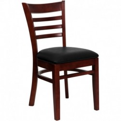 MFO Mahogany Finished Ladder Back Wooden Restaurant Chair - Black Vinyl Seat