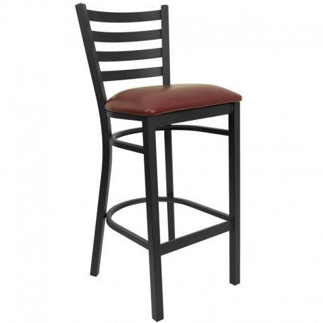 MFO Black Ladder Back Metal Restaurant Bar Stool - Burgundy Vinyl Seat