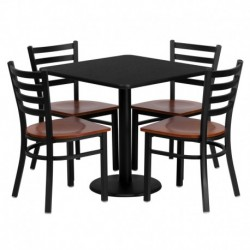 MFO 30'' Square Black Laminate Table Set with 4 Ladder Back Metal Chairs - Cherry Wood Seat