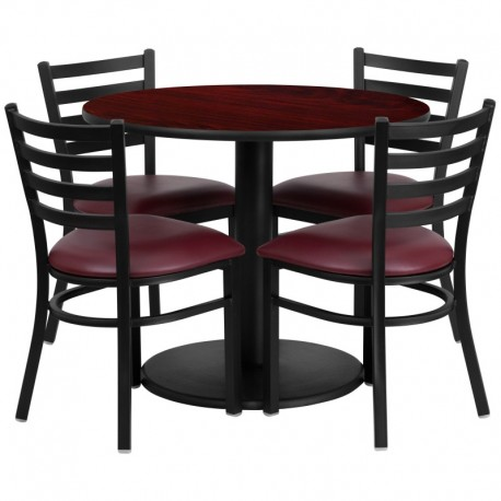 MFO 36'' Round Mahogany Laminate Table Set with 4 Ladder Back Metal Chairs - Burgundy Vinyl Seat
