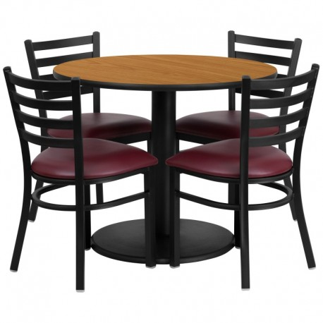 MFO 36'' Round Natural Laminate Table Set with 4 Ladder Back Metal Chairs - Burgundy Vinyl Seat