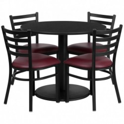 MFO 36'' Round Black Laminate Table Set with 4 Ladder Back Metal Chairs - Burgundy Vinyl Seat