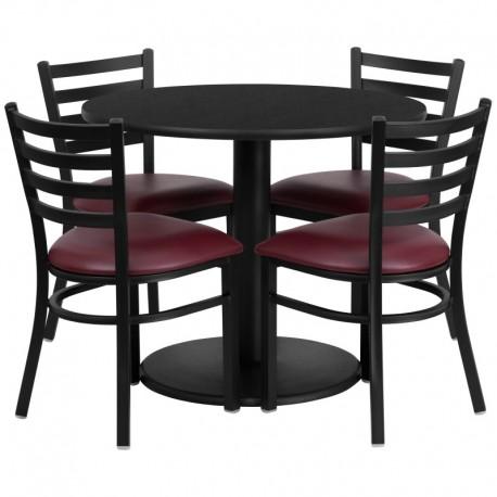 MFO 36'' Round Black Laminate Table Set with 4 Ladder Back Metal Chairs - Burgundy Vinyl Seat