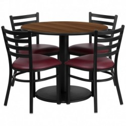 MFO 36'' Round Walnut Laminate Table Set with 4 Ladder Back Metal Chairs - Burgundy Vinyl Seat