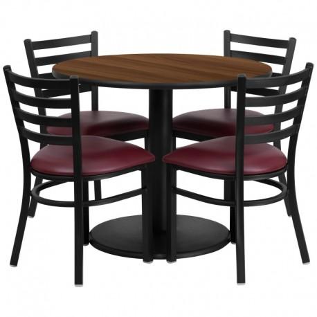 MFO 36'' Round Walnut Laminate Table Set with 4 Ladder Back Metal Chairs - Burgundy Vinyl Seat