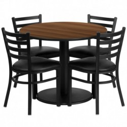 MFO 36'' Round Walnut Laminate Table Set with 4 Ladder Back Metal Chairs - Black Vinyl Seat